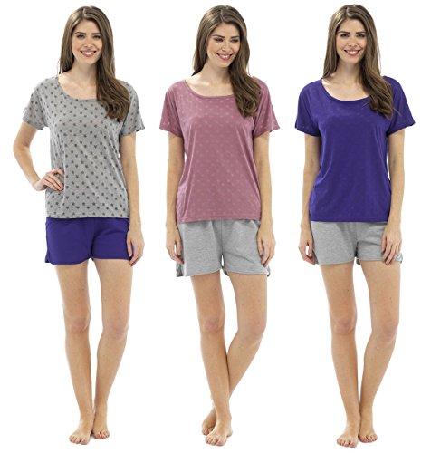 Mujer Estrella Devoré Camiseta Y Pijama Corto Set Gris