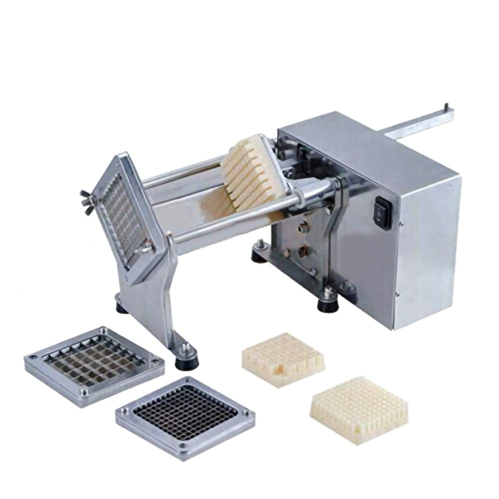 Li Bai French Fry Potato Cutter Machine Electric Cutting Slicer Chipper Commercial Automatic Industrial Kitchen Restaurant Use Stainless Steel 3 sizes of replaceable Blades by Li Bai