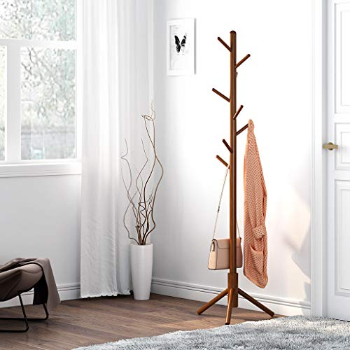 LANGRIA Rubber Wood Coat Rack Stand Hat Hanger Tree Holder, Clothes Organizer with Tripod Base for Hallway Entryway Room Home Office, for Jackets Hats Bags Umbrella 8 Hooks, Coffee Color