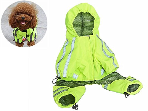 Dog Raincoat Casual Hoodie Outdoor Sportswear Technical Jacket,Waterproof Dog Casual Hoodie with Reflective Stripes,Neck Traction Hole,Limbs Retractable Rope,Belly Velcro by UonlyU (L, Yellow) Limbs Cloth Body