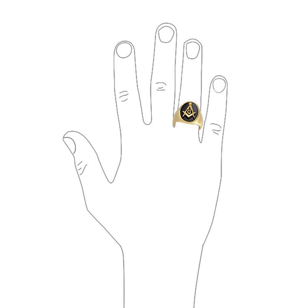 Bling Jewelry Soci/ét/é Secr/ète Carr/ée Boussole Ovale Noir Bague Ma/çonnique Franc-Ma/çon De Signet Homme 14K Or Plaqu/é Acier Inoxydable