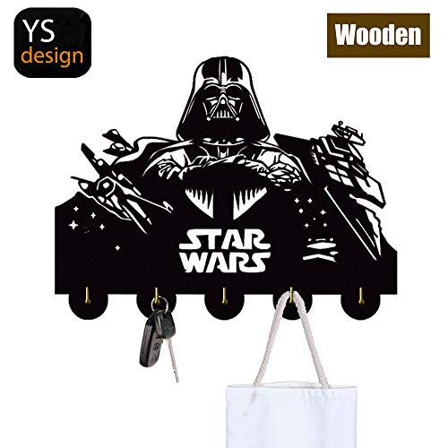 Star Wars Key Hooks-Wall Hooks Heavy Duty 20LB(Max),Star Wars Wall Décor,Wood Coat Hooks, Key Holder,Key Hanger for Wall、Entryway and Kitchen ()