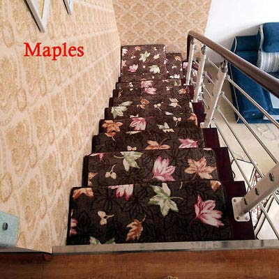 FidgetKute 1/14/15/16/17/18pcs Stair Treads Rectangle Non-Slip Carpet Stair Mats Rugs Pads Maples 2570cm 15pcs
