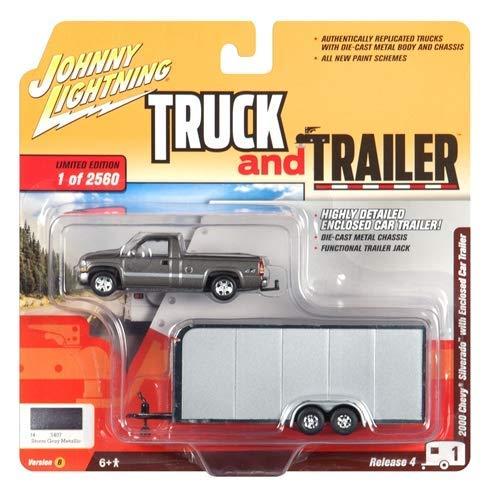 2000 Chevrolet Silverado Pickup Truck Dark Gray with Enclosed Car Trailer Ltd Ed to 2,560 pcs 1/64 Diecast Model Car by Johnny Lightning JLBT009 B ()