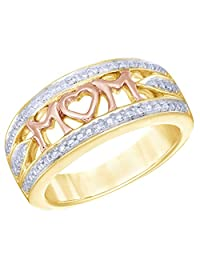 """Mothers Day Gift White Natural Diamond Accent """"MOM"""" Ring in 14k Gold Over Sterling Silver"""