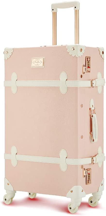4 Wheel,TSA Lock,Pink L/&QQ Carry On Vintage Luggage,Retro PU Leather Trolley Suitcase with Butterfly Travel Bag Cabin Case for Women