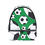 Dual Compartment Lunch Bag Soccer Balls Insulated Cooler Work School Picnic Lunch Box with Carry Shoulder Strap