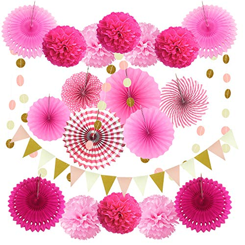 Zerodeco Party Decoration, 21 Pcs Pink Hanging Paper Fans, Pom Poms Flowers, Garlands String Polka Dot and Triangle Bunting Flags for Birthday Parties, Bridal Showers, Baby Showers, Wedding -