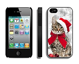 Customized Design Christmas Hat Bowknot Cat Black TPU Case For Iphone 4s,Apple Iphone 4 Case