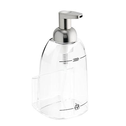 InterDesign Foamin - Dosificador jabón espuma con estropajero, transparente