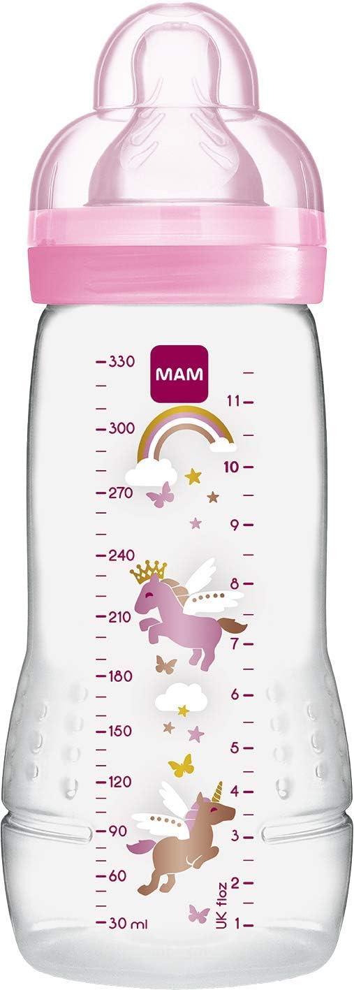 MAM Biberon Deuxi/ème Age Color/é Rose 330 ml /à partir de 6 Mois T/étine D/ébit X