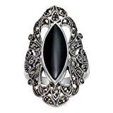 925 Sterling Silver Filigree with Marcasite and Black Onyx Gemstones Ring