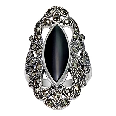 Chuvora 925 Sterling Silver Filigree with Marcasite and Black Onyx Gemstones Ring