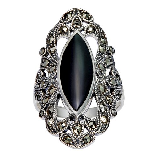 Chuvora 925 Sterling Silver Filigree with Marcasite and Black Onyx Gemstones Ring - Size 9