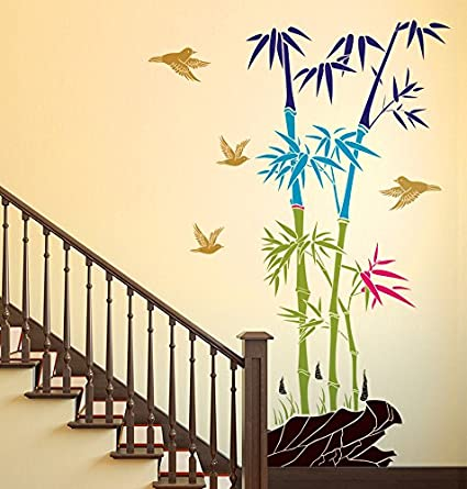 Decals Design Bamboo Trees with Rocks and Birds Jungle Scenery Wall Sticker (PVC Vinyl, 50 cm x 70 cm)
