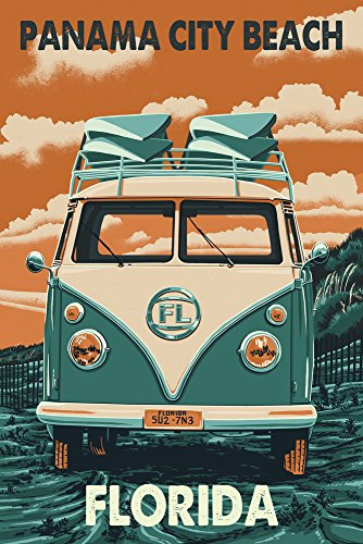 Panama City Beach, Florida - VW Van Letterpress (12x18 SIGNED Print Master Art Print w/ Certificate of Authenticity - Wall Decor Travel Poster) (City Decor Beach Panama Beach)