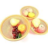 洛可可 4209 三件套果蔬箩 果篮沥水篮 蔬果筛 蔬果收纳篮 颜色随机 1组