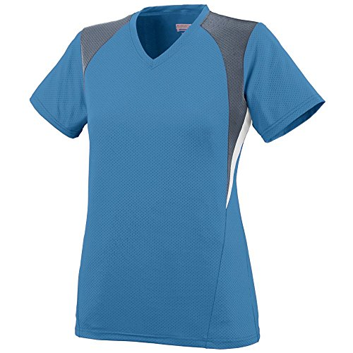 Soccer V-neck Custom Jersey (Augusta Sportswear Women's Mystic Jersey 2XL Columbia Blue/Graphite/White)