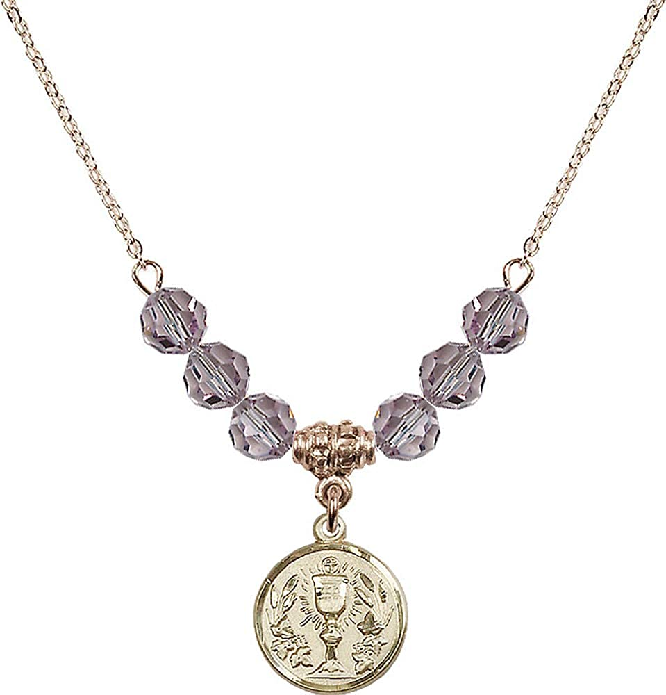 Purple Light Amethyst June Birthstone 18-Inch Hamilton Gold Plated Necklace with 6mm Light Amethyst Birthstone Beads and Communion Chalice Charm