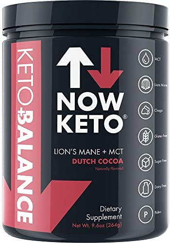 NOW KETO Keto Balance with Lion s Mane Mushroom, Chaga Mushroom, Rhodiola Root, C8 MCT Oil Powder Sodium, Magnesium, Potassium, Sea Salt, Dutch Cocoa Keto Coffee Creamer Dutch Cocoa Chocolate