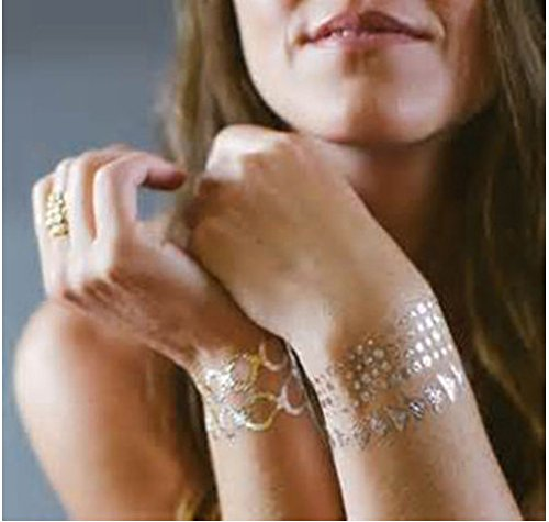 G-ART : body art tattoo for women temporary flash Disposable tattoo feather choker bracelet flash tatouage metalic silver gold tattoos