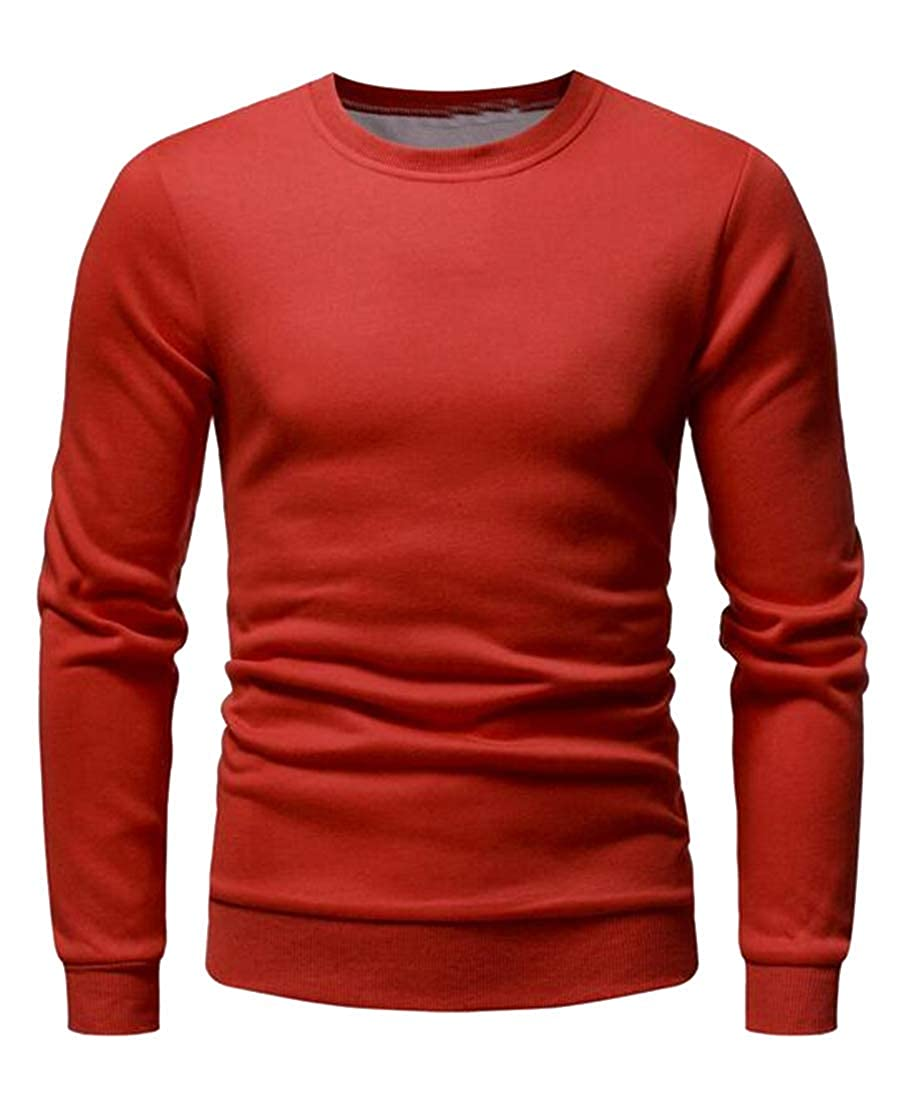 MK988 Mens Long Sleeve Loose Fit Crew Neck Plain Casual Active Pullover Sweatshirt Tops
