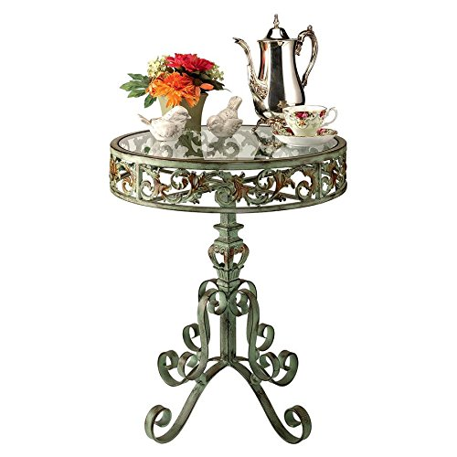al Palace Conservatory Side Table, 23 Inch, Metalware and Glass, Bronze Verdigris Finish ()