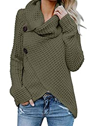 Womens Turtleneck Sweater Warm Cable Knitted Loose Button...