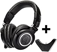 Audio Technica ATH-M50x Professional Studio Monitor Headphones with Bluetooth Adapter, Black
