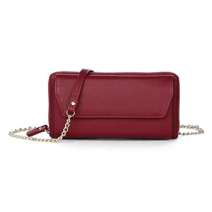 Wenquan,Mujeres PU cuero cadena Crossbody hombro bolso del teléfono cartera larga(color: