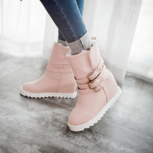 Carolbar Womens Multi Gesp Fashion Warm Cute Sweet Fashion Verborgen Sleehak Snowboots Roze
