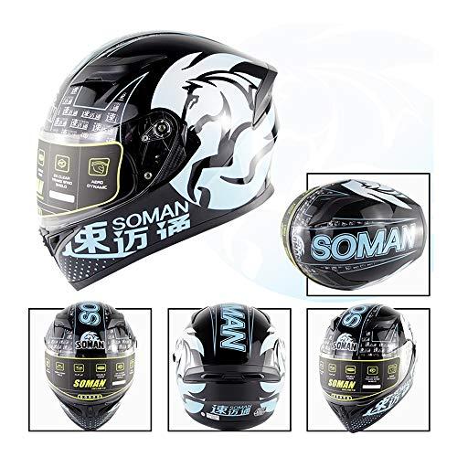 Warooms Motocross Full Face Helm ECE/DOT Certified Highway Riding Helmets Adult Off Road Motorbike Crash Helmet, for ATV/MX/BMX/Enduro/MTB,XL