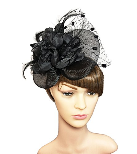 YSJOY Womens Feather Flower Sinamay Fascinator Wedding Hair Aceessory Church British Bowler Hat Summer Derby Hat Cocktail Tea Party Hat Black
