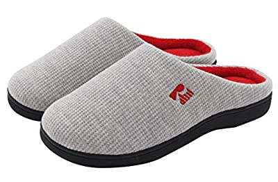 RockDove Women's Two-Tone Memory Foam House Slippers, Waffle Knit Warm & Comfortable Slide Slip On Bedroom Clogs - Indoor Outdoor Sole