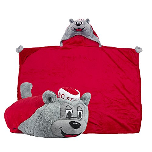 Comfy Critters Stuffed Animal Blanket - College Mascot, NC State University 'Mr. Wuf' - Kids Huggable Pillow and Blanket Perfect for The Big Game, Tailgating, Pretend Play, Travel, and Much More (University Nc State)