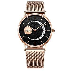 Marvin Swiss Quartz Dress Watch Moon Shape Date Indicator Wrist Watches Valentine's Day Gifts