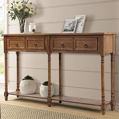 P PURLOVE Console Table Sofa Table with Drawers Console Tables for Entryway with Drawers and Long Shelf (Antique Walnut)