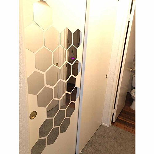 - H2MTOOL Hexagon Stickers, 12 PCS 9cm Removable Acrylic Wall Stickers for Home Living Room Bedroom Decor (9cm, Silver)