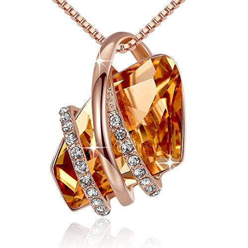 Leafael Wish Stone Pendant Necklace Made Swarovski Crystals (Topaz Amber Brown Rose Gold Plated) Gifts Women Mother Sister November Birthstone Jewelry
