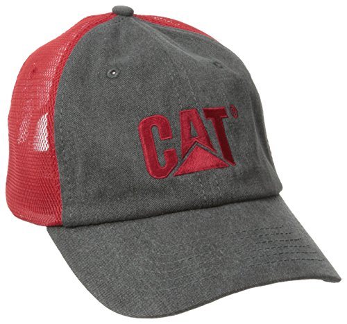 Caterpillar Men's Trademark Mesh Cap, Charcoal/Chili Pepper, One Size (Chili Pepper Hat)