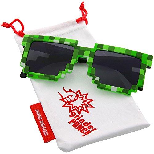 grinderPUNCH 8-Bit Pixel Retro Novelty Gamer Geek Sunglasses - Sunglasses Geek