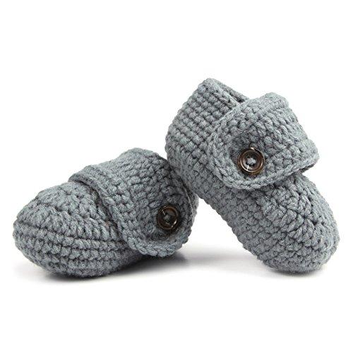 1 par de bebés lindos niños pequeños bebé ganchillo suave tejer zapatos de cuna caminar calcetines: Amazon.es: Bebé
