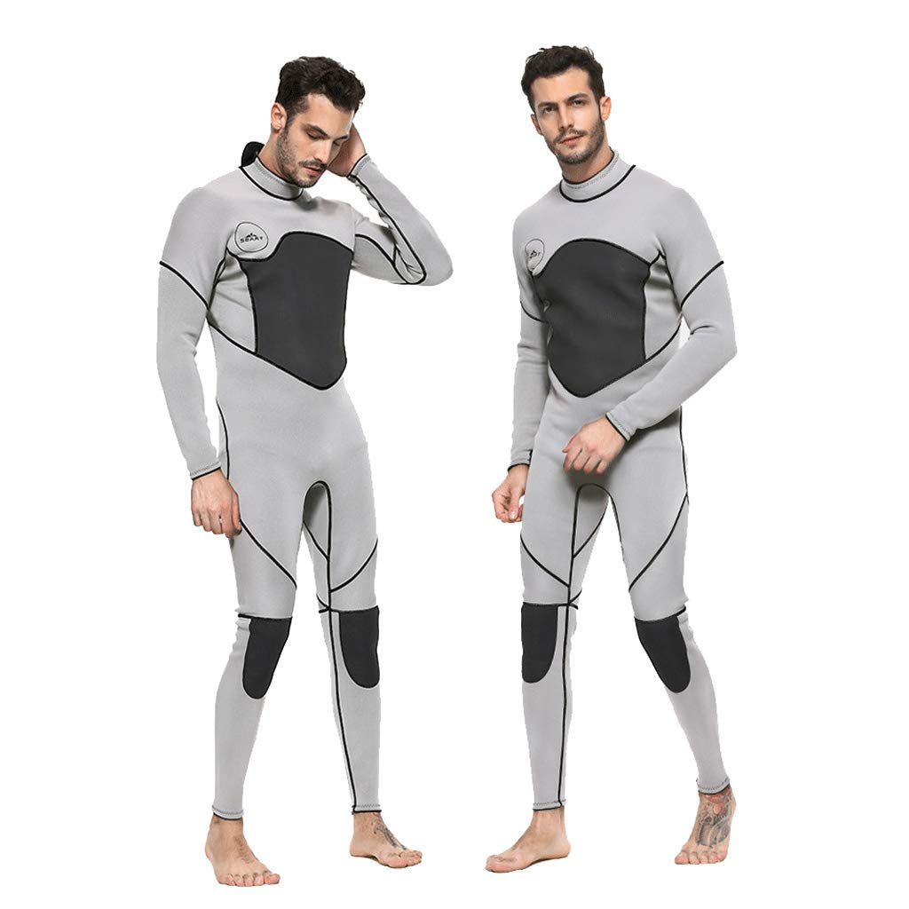 iCJJL 3mm Neoprene Full Wetsuits for Men, Thermal Wetsuit Guardian Full Scuba Diving Suits Surfing Swimming Long Sleeve Keep Warm Back Zip for Water Sports Men-Snorkeling, Scuba Diving by iCJJL