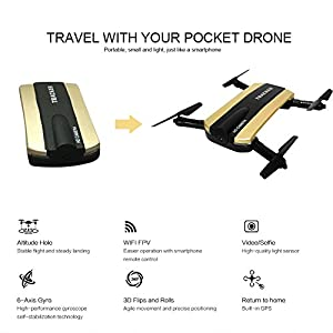 Foldable RC Quadcopter With FPV HD Camera WiFi Live Video, JXD 523W App Phone Control Drone 2.4G 6-Axis Altitude Hold 3D Flips Helicopter by Haibei