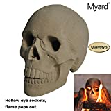 Myard DELUXE Logs - Imitated Human Skull Fire Gas Log for Natural Gas / Liquid Propane Fireplace Fire-Pit (Qty 5, Hollow (Aged Dark Grey))