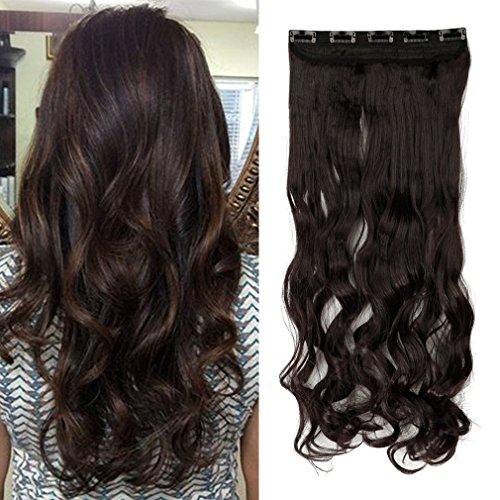 24 inch Dark Brown Ombre Color Curly/Wavy Clip in Hair Exten