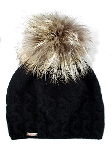 Frost Hats Cashmere Cable Hat with Detachable Genuine Fox Fu