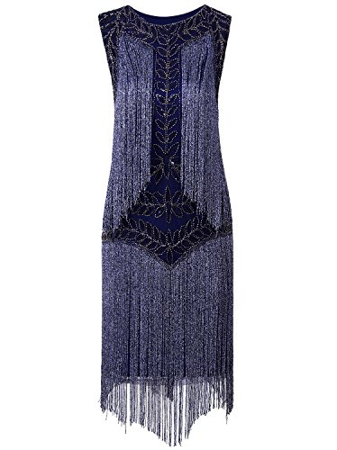 Vijiv Women's Flapper Dresses 1920s Gatsby Full Fringed Vintage Cocktail Dress,Blue,Small