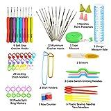 TIMESETL 72Pack Ergonomic Crochet Kit, Painless Soft Grip Crochet Hooks 2-6mm, Aluminum Knitting Needle 0.6-1.9mm, Complete Accessories with Double Zipper Case for Beginner