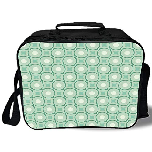(Insulated Lunch Bag,Mint,Circles and Dots Linked with Lines Wavy Squares Geometric Retro Style,Mint Emerald Almond Green,for Work/School/Picnic, Grey)